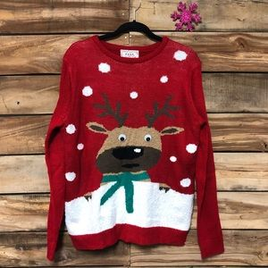 Ugly Christmas reindeer google eye sweater